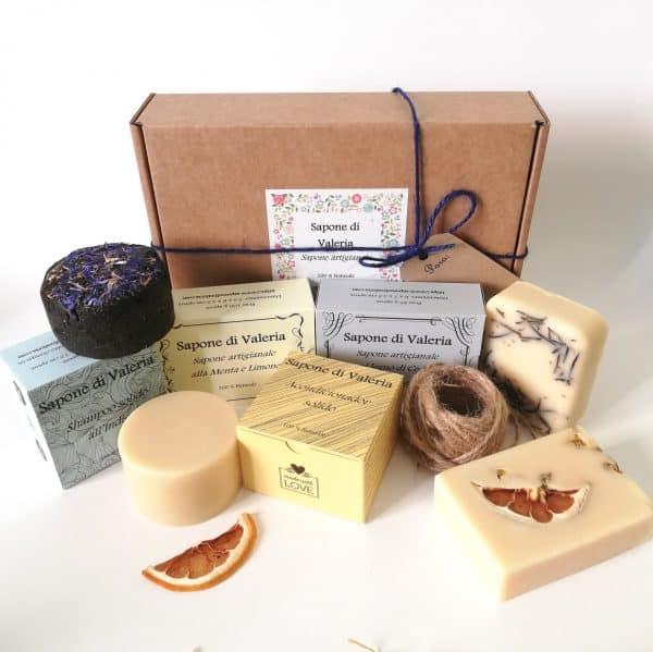 Pack regalo de baño de jabones artesanales, champú y acondicionador sólidos