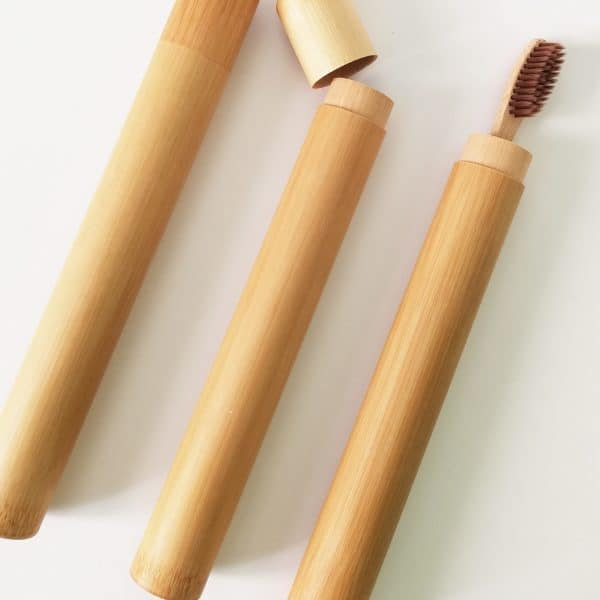 Estuche de bambú natural para cepillo de dientes