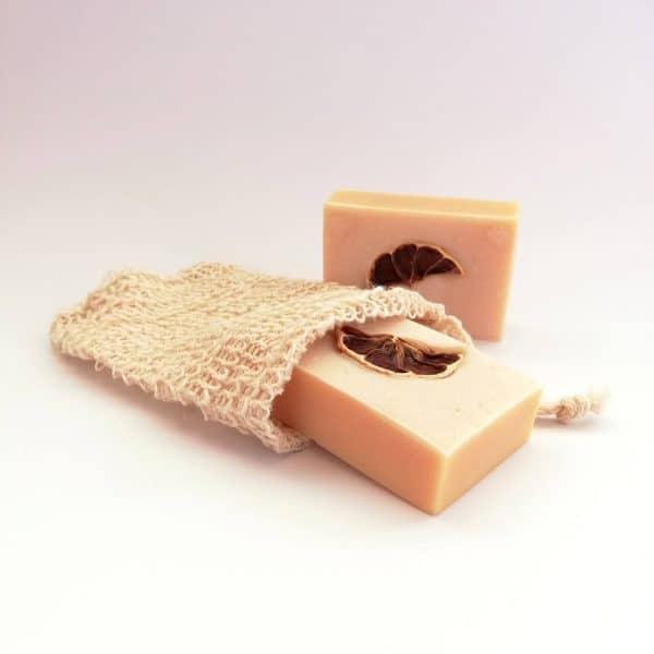 Bolsa esponja jabon solido pastilla sisal